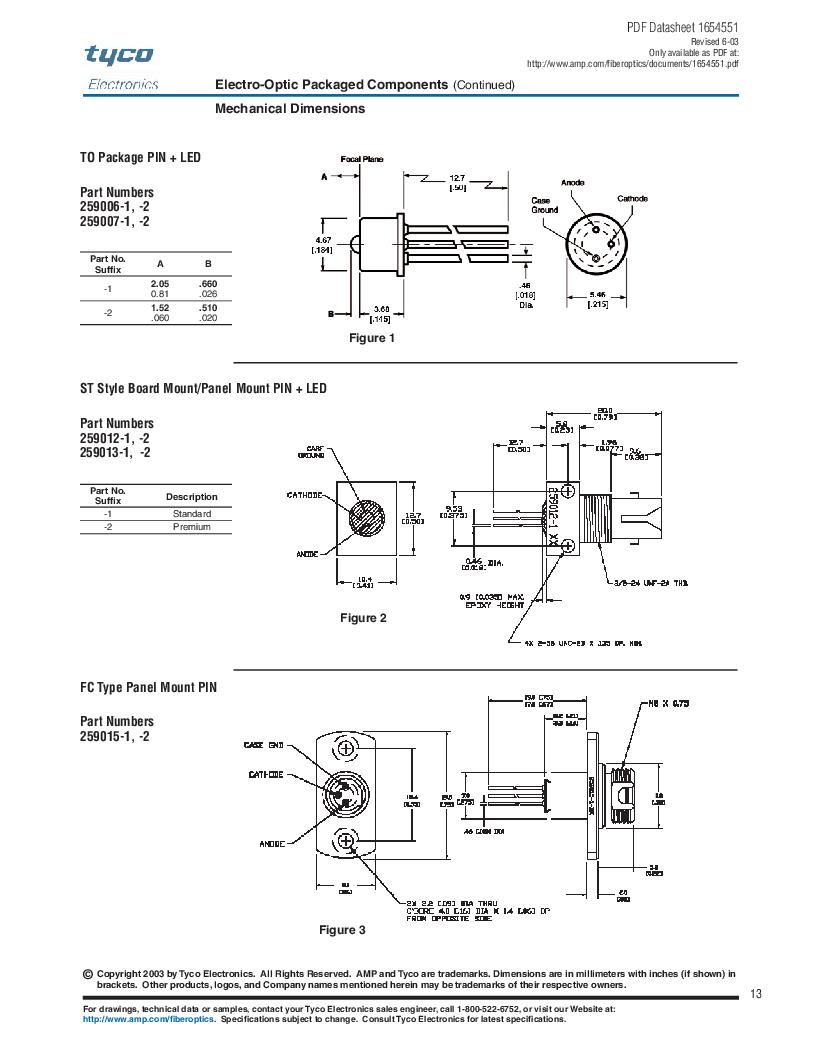 259013-2 ,TE Connectivity厂商,Photodetector Transistors PIN 120UM 2.5MM, 259013-2 datasheet预览  第13页