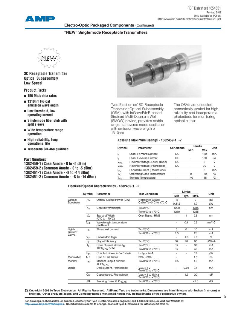 259013-2 ,TE Connectivity厂商,Photodetector Transistors PIN 120UM 2.5MM, 259013-2 datasheet预览  第5页