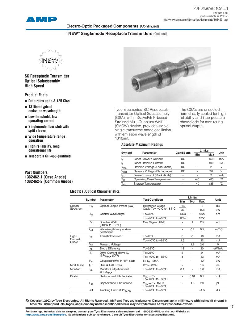 259013-2 ,TE Connectivity厂商,Photodetector Transistors PIN 120UM 2.5MM, 259013-2 datasheet预览  第7页