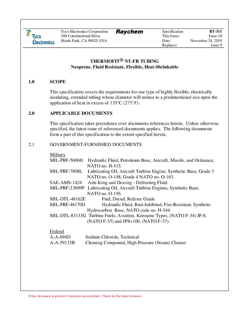 NTFR-1-1/2-0-SP-CS5445 ,TE Connectivity厂商,Heat Shrink Tubing & Sleeves PRICE PER FT, NTFR-1-1/2-0-SP-CS5445 datasheet预览  第1页