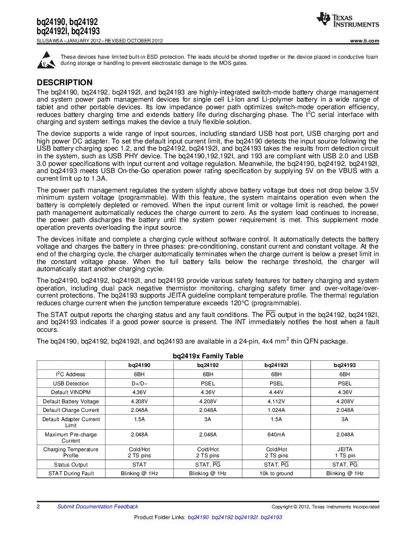 BQ24192RGET ,Texas Instruments厂商,IC USB/ADAPTOR CHARGR I2C 24VQFN, BQ24192RGET datasheet预览  第2页