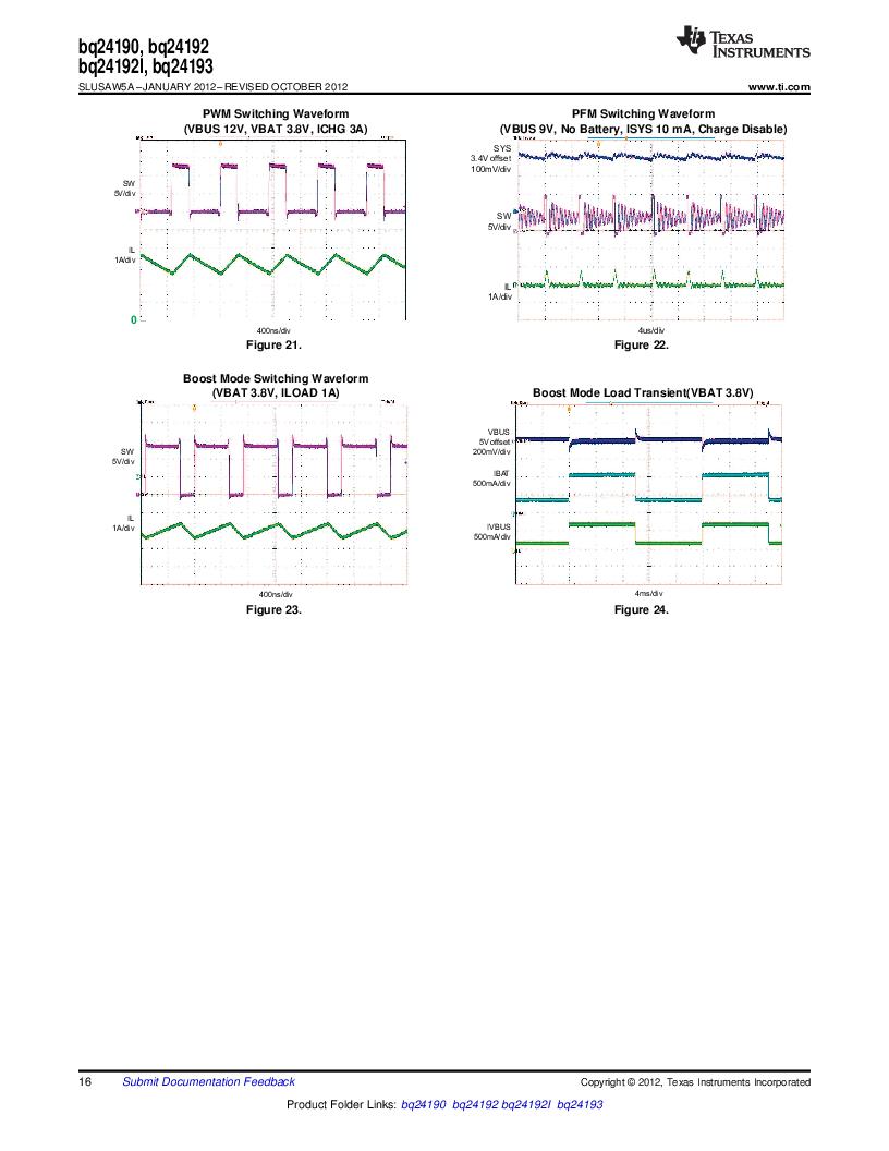 BQ24192RGET ,Texas Instruments厂商,IC USB/ADAPTOR CHARGR I2C 24VQFN, BQ24192RGET datasheet预览  第16页