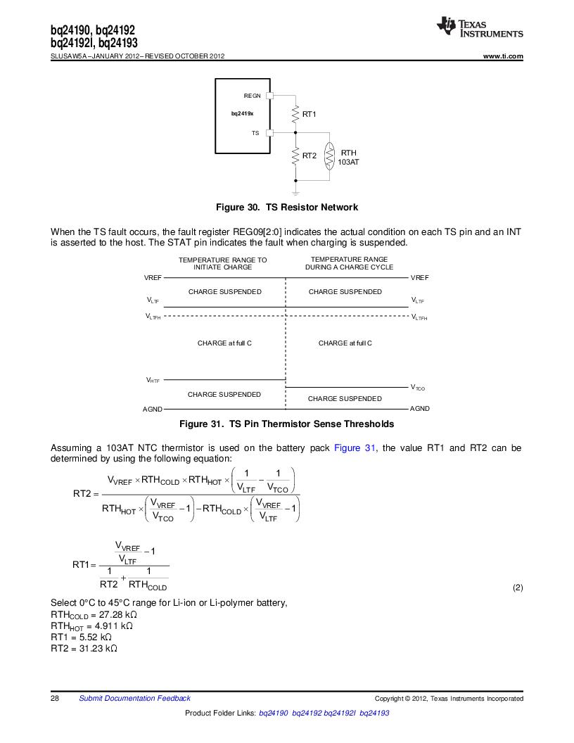 BQ24192RGET ,Texas Instruments厂商,IC USB/ADAPTOR CHARGR I2C 24VQFN, BQ24192RGET datasheet预览  第28页