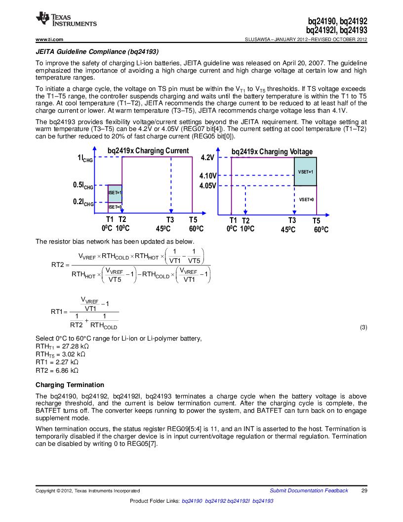 BQ24192RGET ,Texas Instruments厂商,IC USB/ADAPTOR CHARGR I2C 24VQFN, BQ24192RGET datasheet预览  第29页