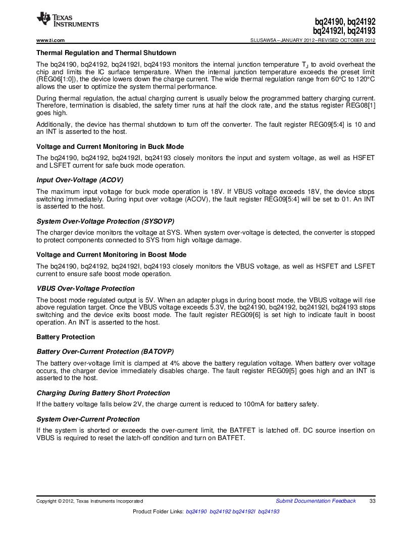 BQ24192RGET ,Texas Instruments厂商,IC USB/ADAPTOR CHARGR I2C 24VQFN, BQ24192RGET datasheet预览  第33页