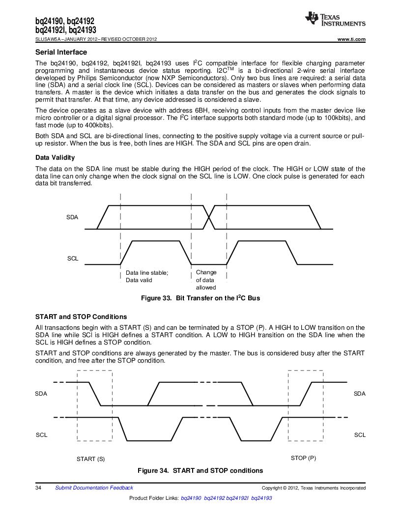 BQ24192RGET ,Texas Instruments厂商,IC USB/ADAPTOR CHARGR I2C 24VQFN, BQ24192RGET datasheet预览  第34页
