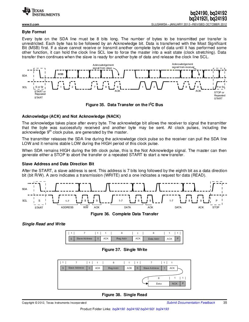 BQ24192RGET ,Texas Instruments厂商,IC USB/ADAPTOR CHARGR I2C 24VQFN, BQ24192RGET datasheet预览  第35页