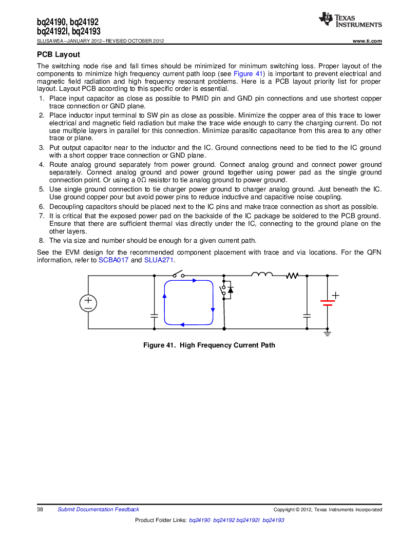 BQ24192RGET ,Texas Instruments厂商,IC USB/ADAPTOR CHARGR I2C 24VQFN, BQ24192RGET datasheet预览  第38页