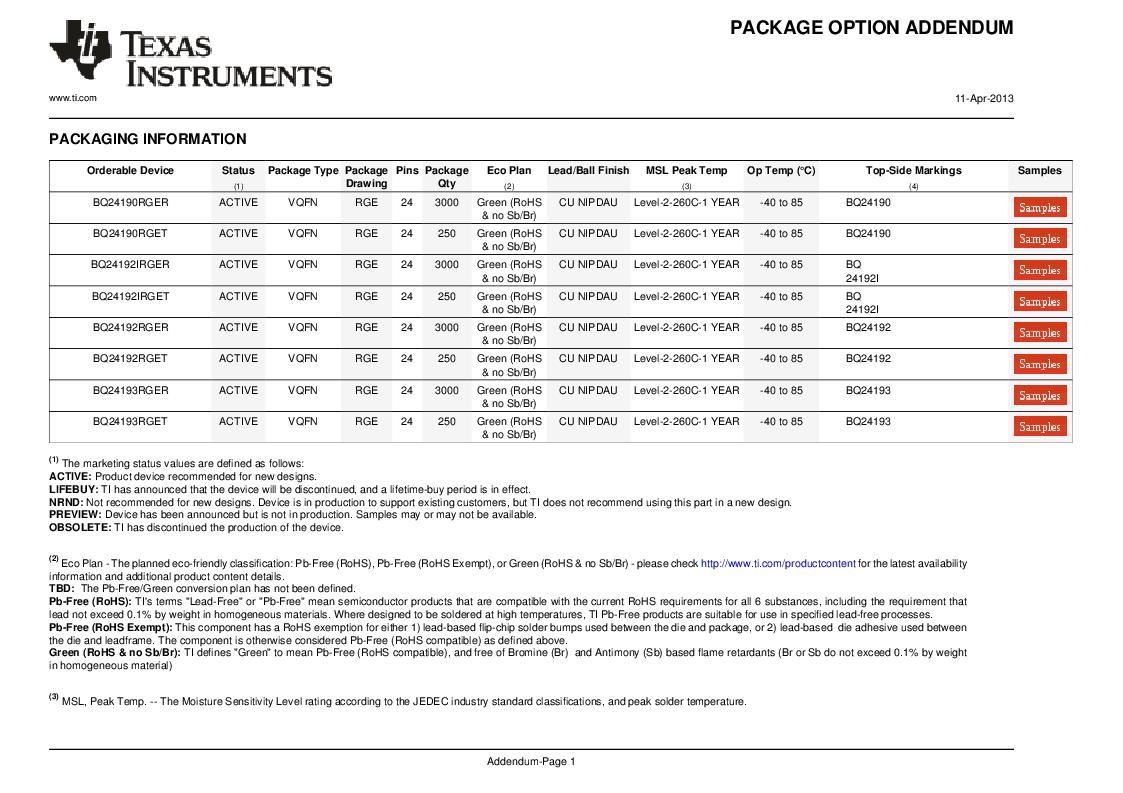 BQ24192RGET ,Texas Instruments厂商,IC USB/ADAPTOR CHARGR I2C 24VQFN, BQ24192RGET datasheet预览  第39页