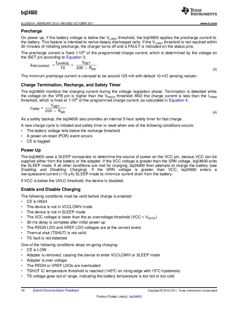 BQ24600RVAR ,Texas Instruments厂商,IC SYNC SW-MODE BAT CHRGR 16VQFN, BQ24600RVAR datasheet预览  第14页