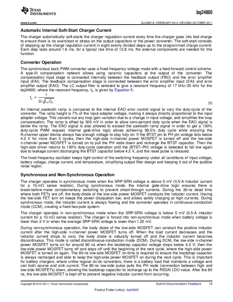 BQ24600RVAR ,Texas Instruments厂商,IC SYNC SW-MODE BAT CHRGR 16VQFN, BQ24600RVAR datasheet预览  第15页