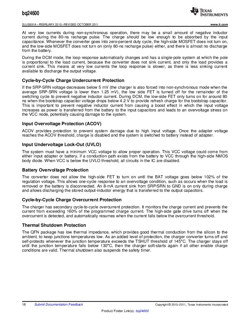 BQ24600RVAR ,Texas Instruments厂商,IC SYNC SW-MODE BAT CHRGR 16VQFN, BQ24600RVAR datasheet预览  第16页