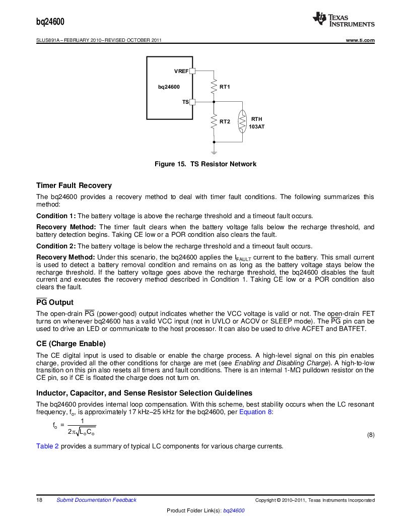 BQ24600RVAR ,Texas Instruments厂商,IC SYNC SW-MODE BAT CHRGR 16VQFN, BQ24600RVAR datasheet预览  第18页