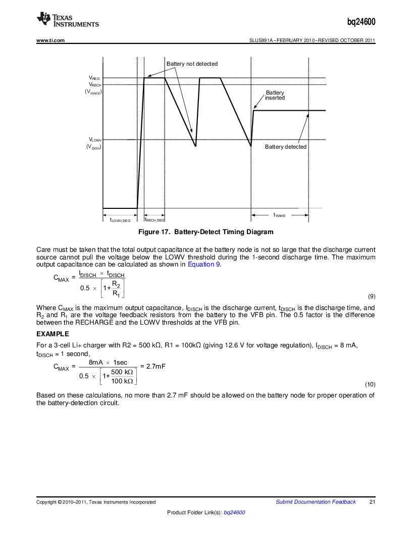 BQ24600RVAR ,Texas Instruments厂商,IC SYNC SW-MODE BAT CHRGR 16VQFN, BQ24600RVAR datasheet预览  第21页