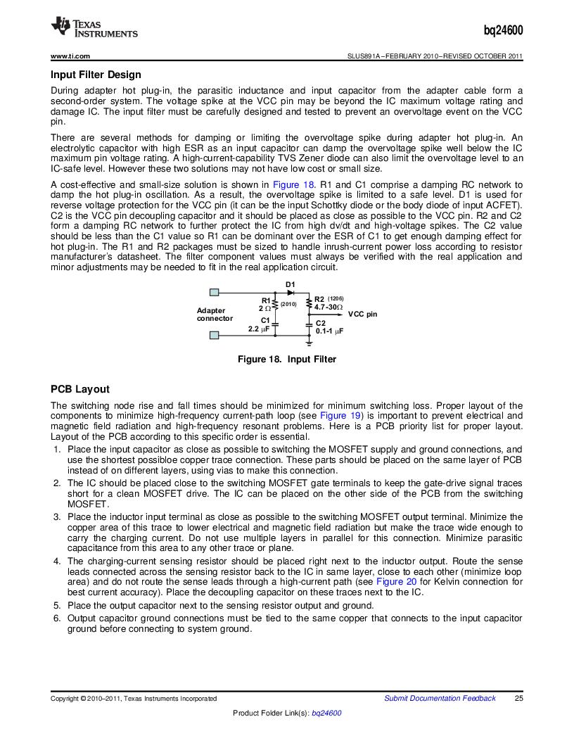 BQ24600RVAR ,Texas Instruments厂商,IC SYNC SW-MODE BAT CHRGR 16VQFN, BQ24600RVAR datasheet预览  第25页