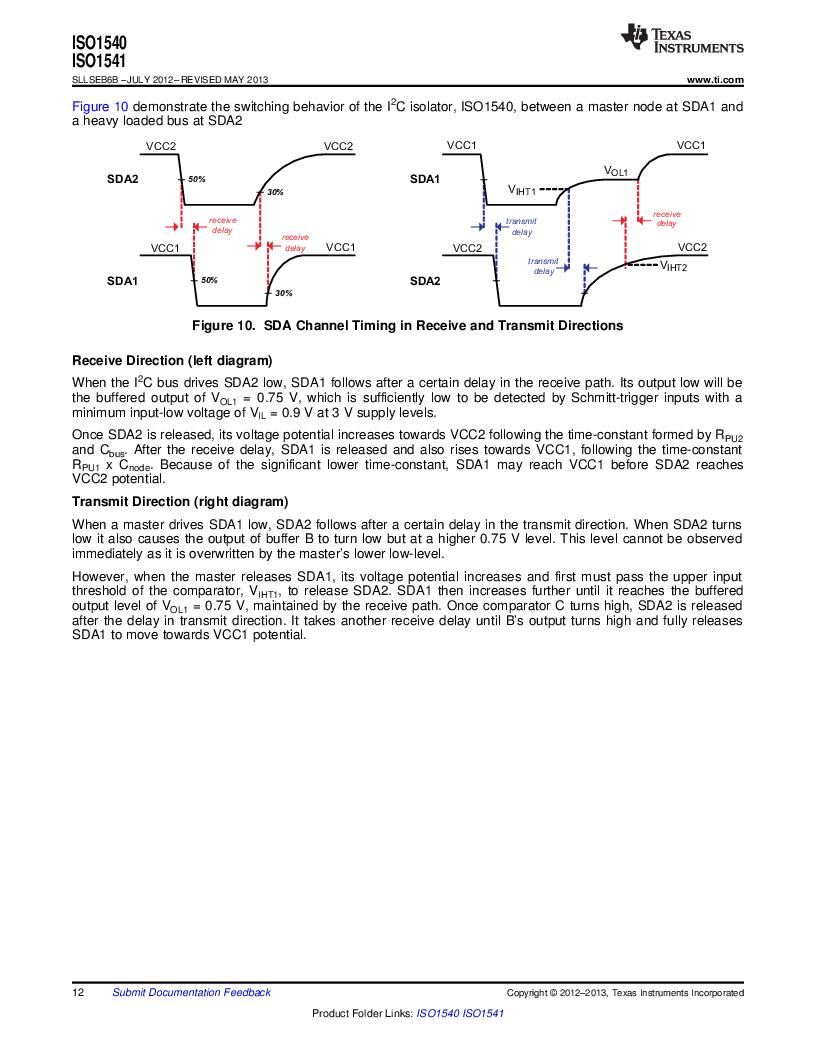 ISO1541D ,Texas Instruments厂商,ISOL BIDIR I2C LP 8SOIC, ISO1541D datasheet预览  第12页