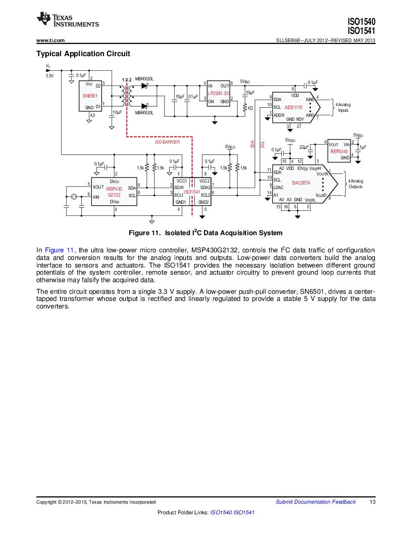 ISO1541D ,Texas Instruments厂商,ISOL BIDIR I2C LP 8SOIC, ISO1541D datasheet预览  第13页