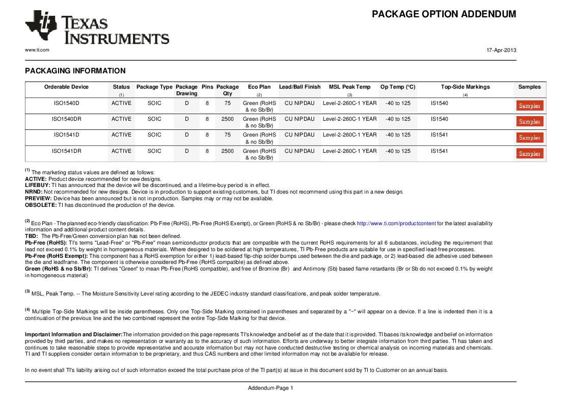 ISO1541D ,Texas Instruments厂商,ISOL BIDIR I2C LP 8SOIC, ISO1541D datasheet预览  第18页
