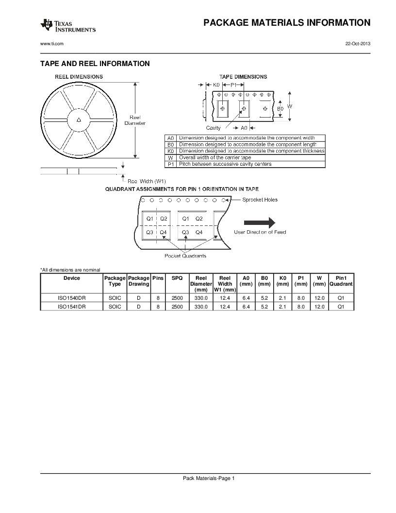 ISO1541D ,Texas Instruments厂商,ISOL BIDIR I2C LP 8SOIC, ISO1541D datasheet预览  第20页