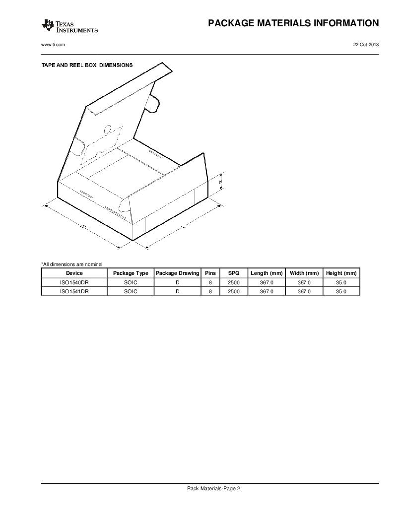 ISO1541D ,Texas Instruments厂商,ISOL BIDIR I2C LP 8SOIC, ISO1541D datasheet预览  第21页