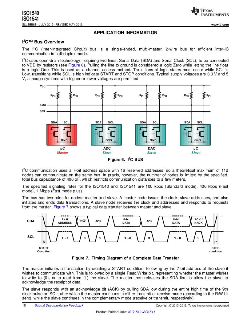 ISO1541D ,Texas Instruments厂商,ISOL BIDIR I2C LP 8SOIC, ISO1541D datasheet预览  第10页