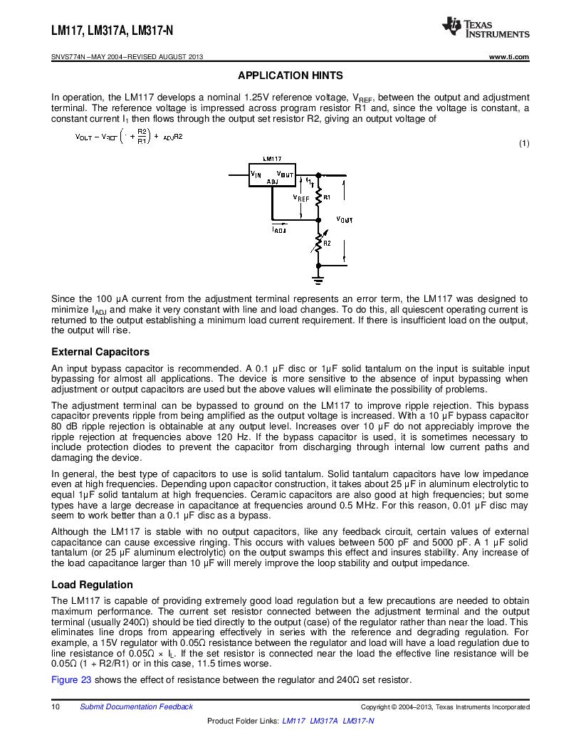 LM317AEMP ,Texas Instruments厂商,IC REG LDO ADJ 1A SOT-223, LM317AEMP datasheet预览  第10页