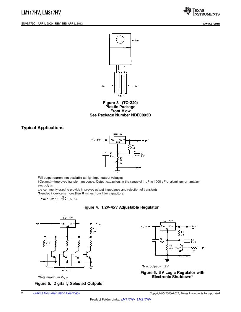 LM317HVK STEEL/NOPB ,Texas Instruments厂商,IC REG LDO ADJ 1.5A TO-3, LM317HVK STEEL/NOPB datasheet预览  第2页