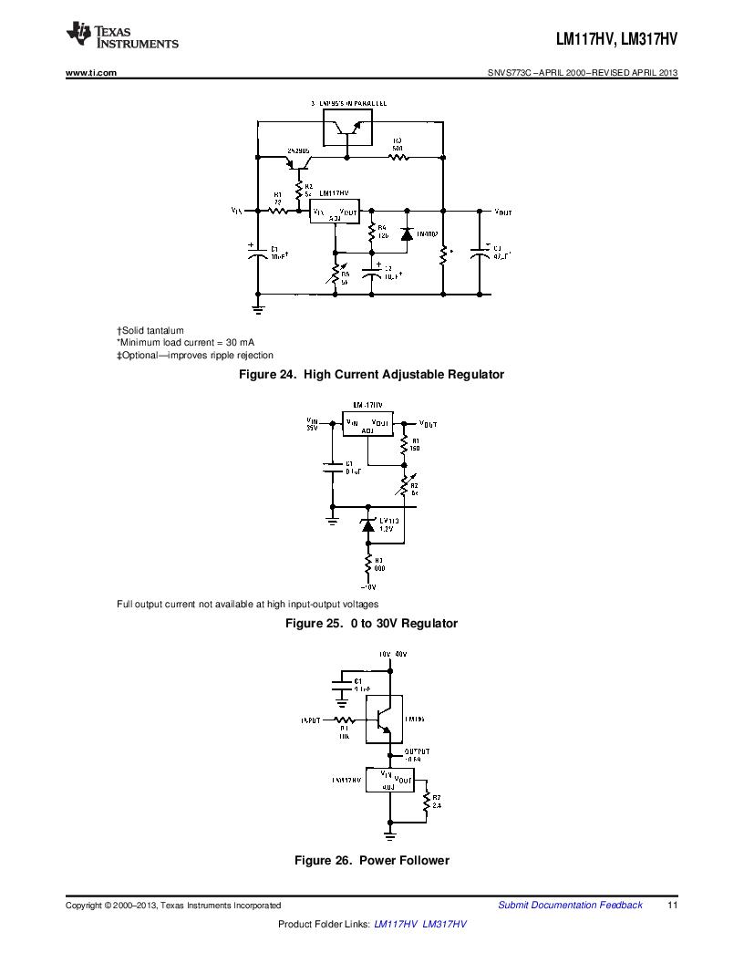 LM317HVK STEEL/NOPB ,Texas Instruments厂商,IC REG LDO ADJ 1.5A TO-3, LM317HVK STEEL/NOPB datasheet预览  第11页