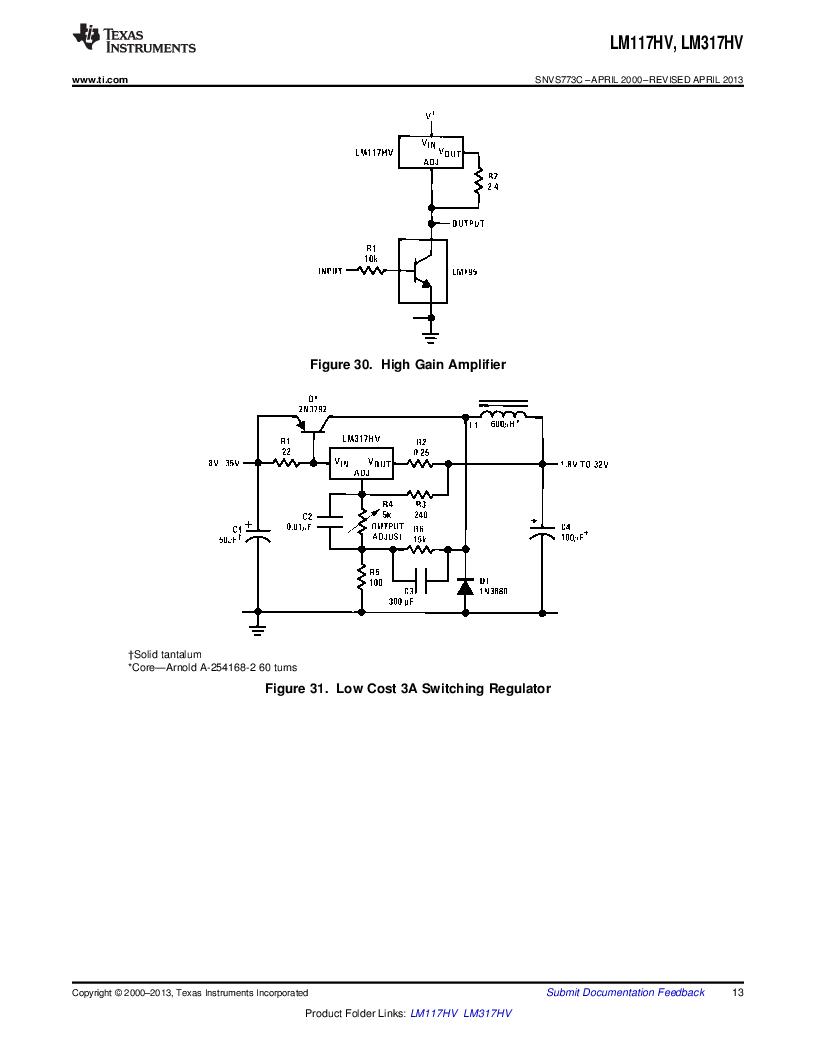 LM317HVK STEEL/NOPB ,Texas Instruments厂商,IC REG LDO ADJ 1.5A TO-3, LM317HVK STEEL/NOPB datasheet预览  第13页
