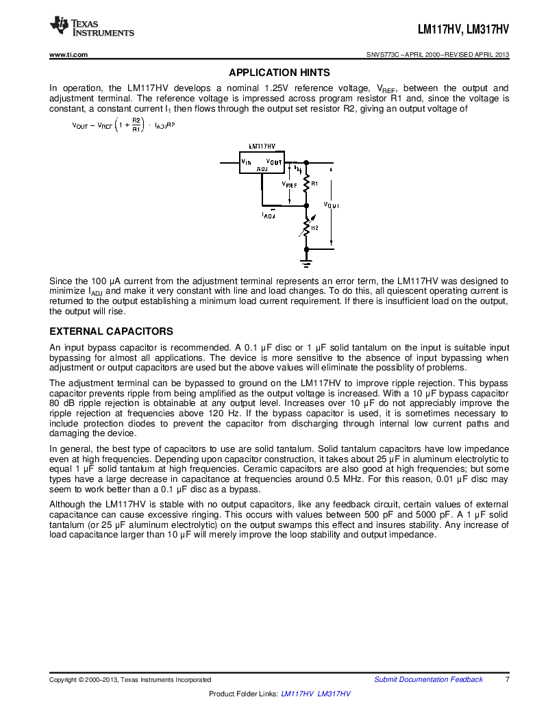 LM317HVK STEEL/NOPB ,Texas Instruments厂商,IC REG LDO ADJ 1.5A TO-3, LM317HVK STEEL/NOPB datasheet预览  第7页