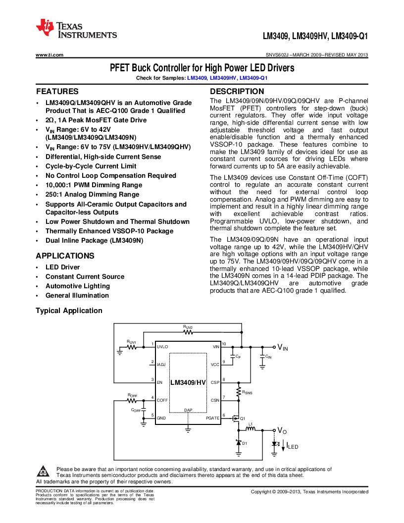 LM3409HVMY/NOPB ,Texas Instruments厂商,LED Drivers PFET BUCK CONTROLLER, LM3409HVMY/NOPB datasheet预览  第1页