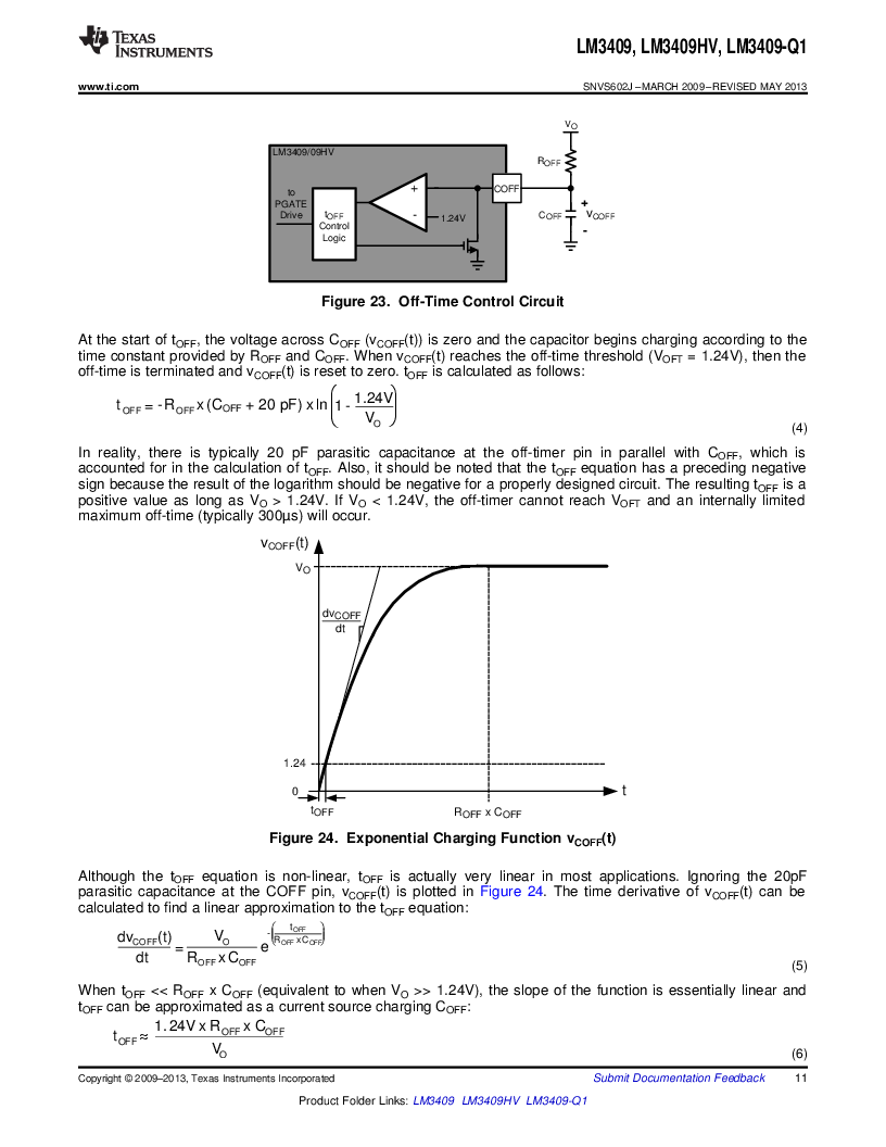 LM3409HVMY/NOPB ,Texas Instruments厂商,LED Drivers PFET BUCK CONTROLLER, LM3409HVMY/NOPB datasheet预览  第11页