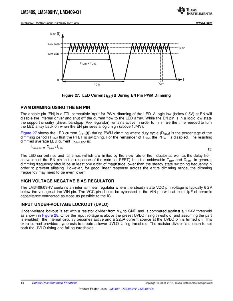 LM3409HVMY/NOPB ,Texas Instruments厂商,LED Drivers PFET BUCK CONTROLLER, LM3409HVMY/NOPB datasheet预览  第14页