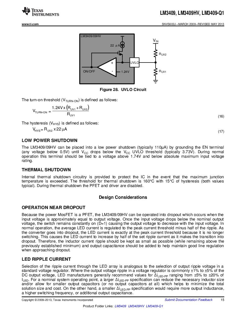 LM3409HVMY/NOPB ,Texas Instruments厂商,LED Drivers PFET BUCK CONTROLLER, LM3409HVMY/NOPB datasheet预览  第15页