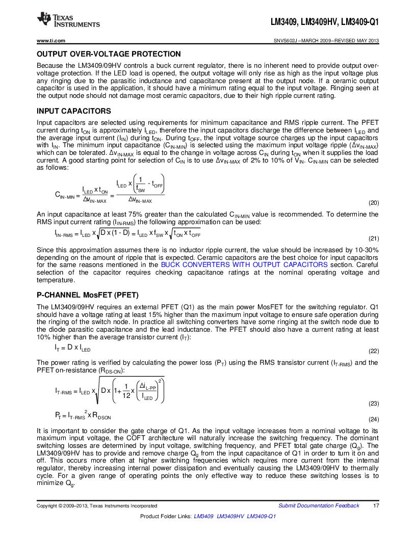 LM3409HVMY/NOPB ,Texas Instruments厂商,LED Drivers PFET BUCK CONTROLLER, LM3409HVMY/NOPB datasheet预览  第17页