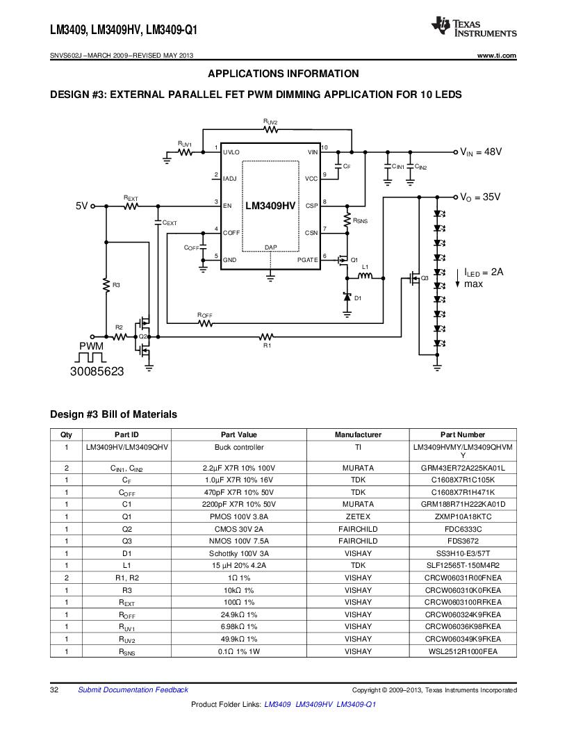 LM3409HVMY/NOPB ,Texas Instruments厂商,LED Drivers PFET BUCK CONTROLLER, LM3409HVMY/NOPB datasheet预览  第32页