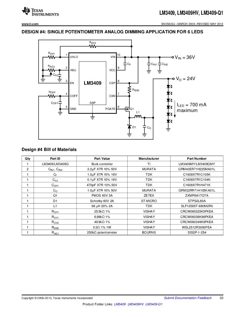 LM3409HVMY/NOPB ,Texas Instruments厂商,LED Drivers PFET BUCK CONTROLLER, LM3409HVMY/NOPB datasheet预览  第33页