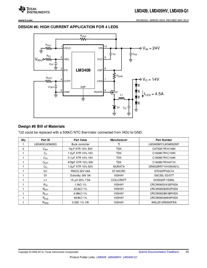 LM3409HVMY/NOPB ,Texas Instruments厂商,LED Drivers PFET BUCK CONTROLLER, LM3409HVMY/NOPB datasheet预览  第35页
