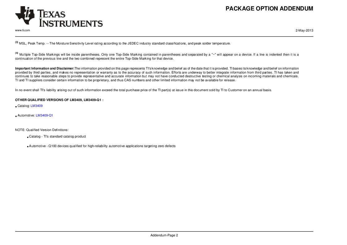 LM3409HVMY/NOPB ,Texas Instruments厂商,LED Drivers PFET BUCK CONTROLLER, LM3409HVMY/NOPB datasheet预览  第38页