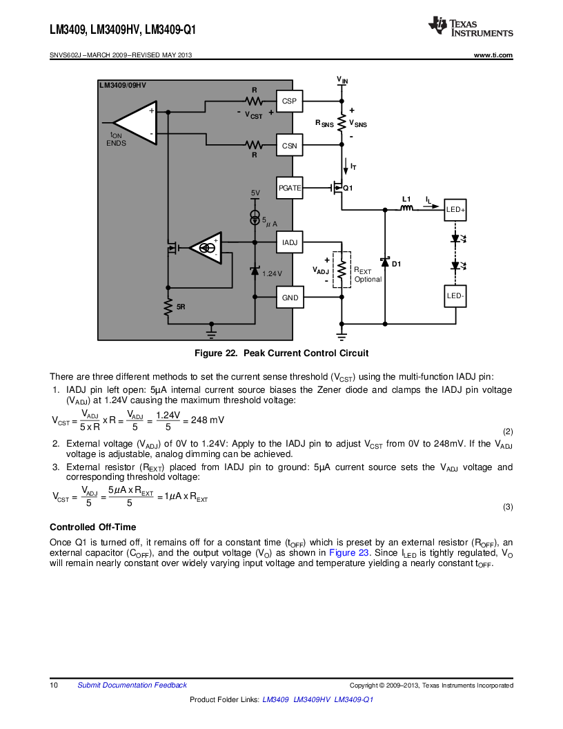 LM3409HVMY/NOPB ,Texas Instruments厂商,LED Drivers PFET BUCK CONTROLLER, LM3409HVMY/NOPB datasheet预览  第10页
