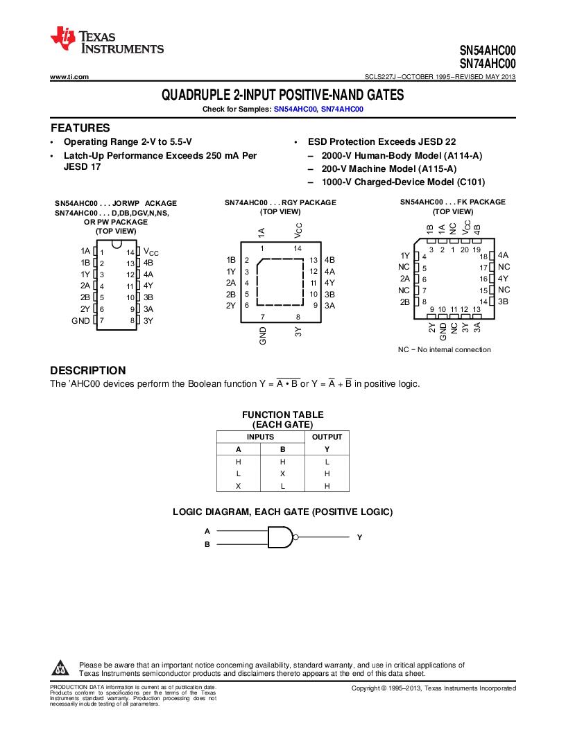 SN74AHC00PW ,Texas Instruments厂商,IC QUAD 2IN POS-NAND GATE14TSSOP, SN74AHC00PW datasheet预览  第1页