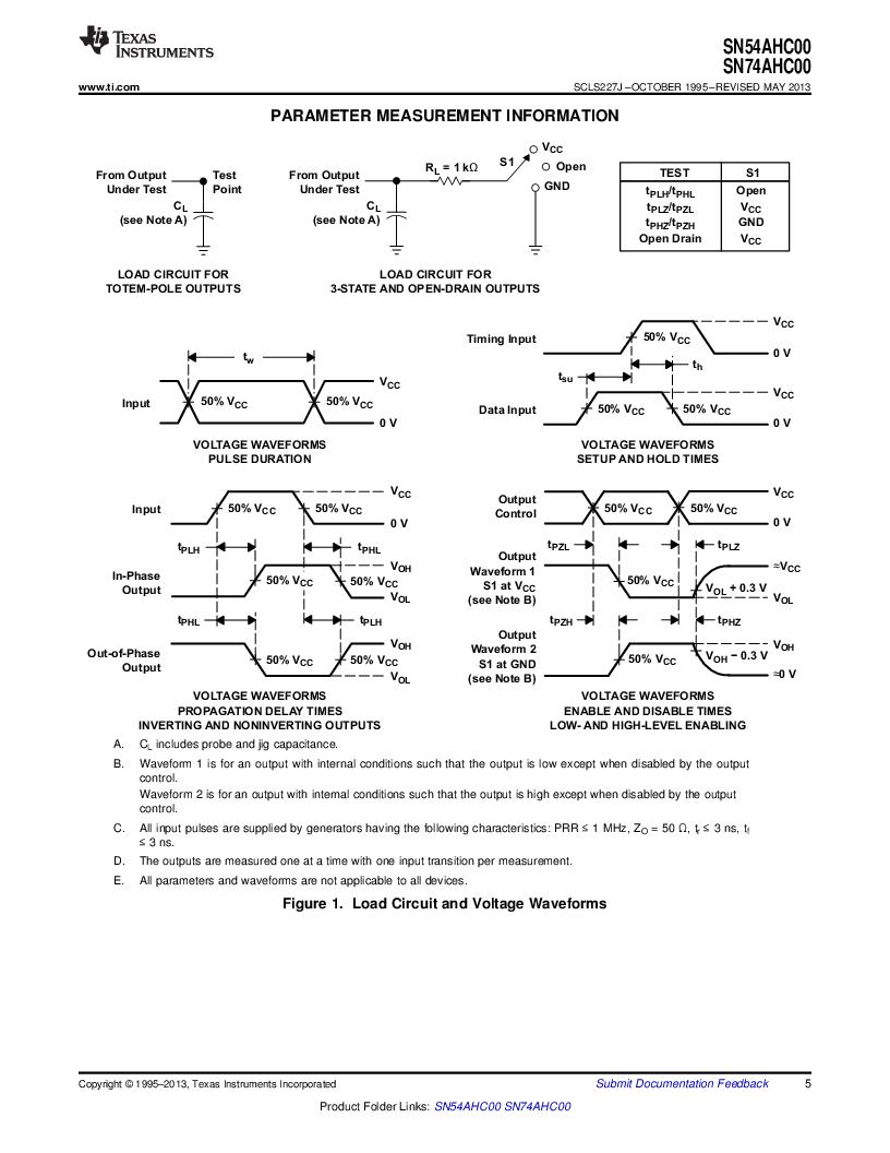 SN74AHC00PW ,Texas Instruments厂商,IC QUAD 2IN POS-NAND GATE14TSSOP, SN74AHC00PW datasheet预览  第5页