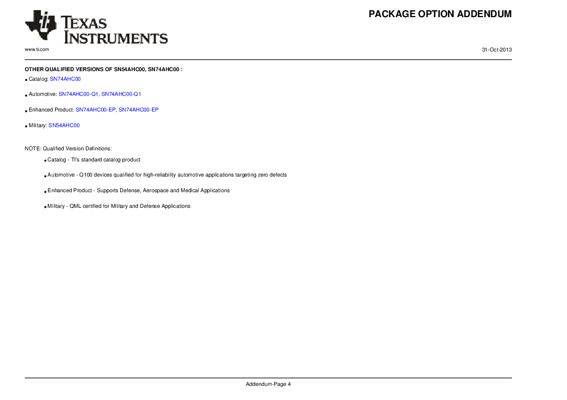 SN74AHC00PW ,Texas Instruments厂商,IC QUAD 2IN POS-NAND GATE14TSSOP, SN74AHC00PW datasheet预览  第10页