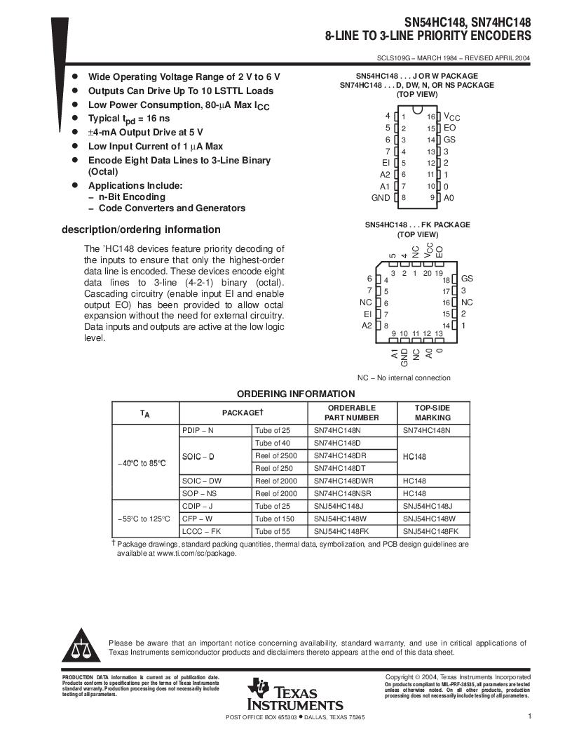 SN74HC148N ,Texas Instruments厂商,IC 8-TO-3 PRIORITY ENCOD 16-DIP, SN74HC148N datasheet预览  第1页
