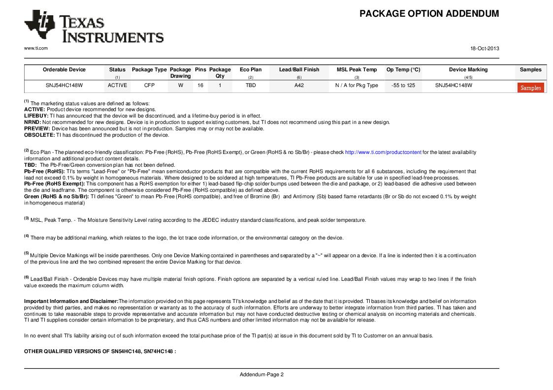 SN74HC148N ,Texas Instruments厂商,IC 8-TO-3 PRIORITY ENCOD 16-DIP, SN74HC148N datasheet预览  第9页