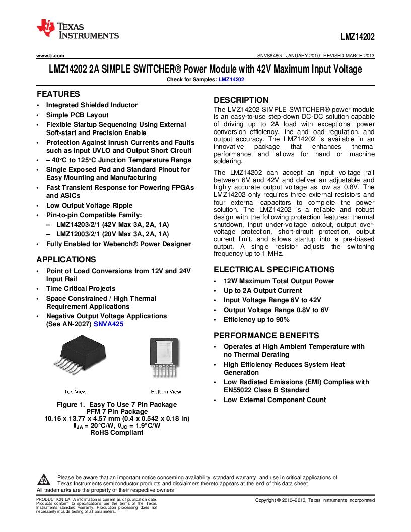 LMZ14202TZ-ADJ/NOPB ,Texas Instruments厂商,DC/DC Switching Converters 42V,2A PWR MODULE, LMZ14202TZ-ADJ/NOPB datasheet预览  第1页