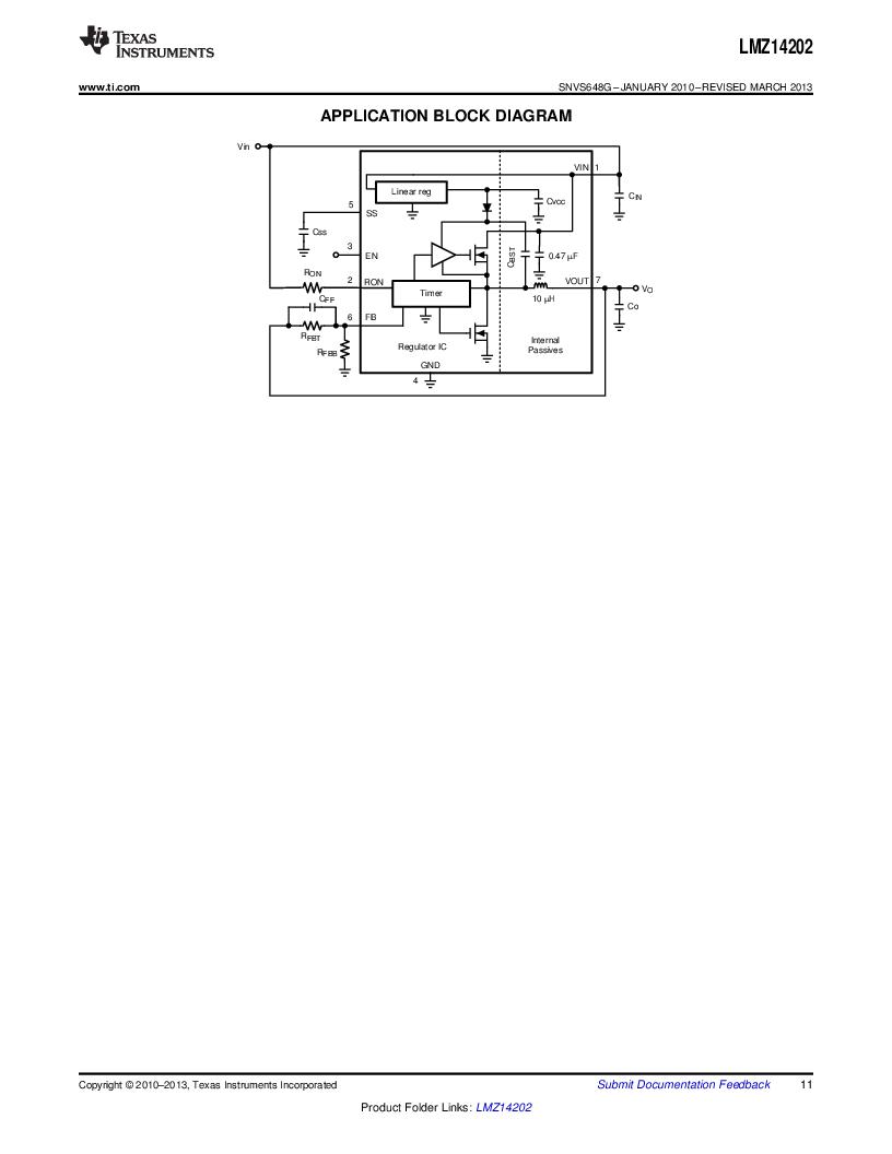 LMZ14202TZ-ADJ/NOPB ,Texas Instruments厂商,DC/DC Switching Converters 42V,2A PWR MODULE, LMZ14202TZ-ADJ/NOPB datasheet预览  第11页