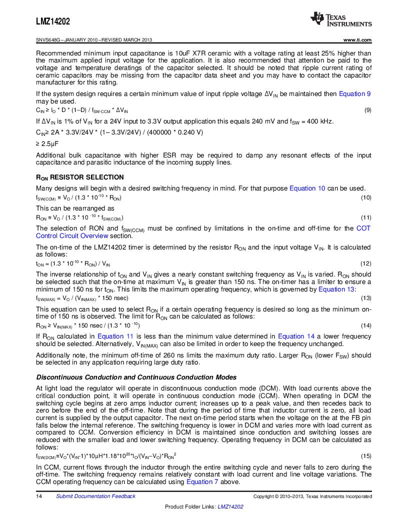 LMZ14202TZ-ADJ/NOPB ,Texas Instruments厂商,DC/DC Switching Converters 42V,2A PWR MODULE, LMZ14202TZ-ADJ/NOPB datasheet预览  第14页