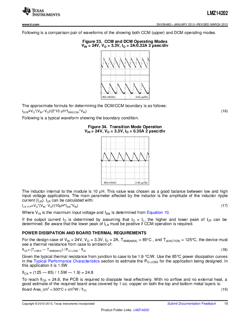 LMZ14202TZ-ADJ/NOPB ,Texas Instruments厂商,DC/DC Switching Converters 42V,2A PWR MODULE, LMZ14202TZ-ADJ/NOPB datasheet预览  第15页