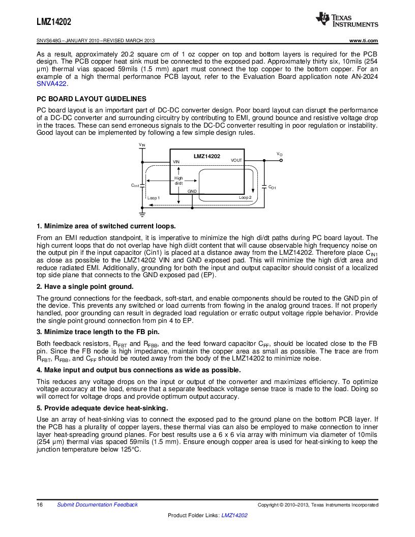 LMZ14202TZ-ADJ/NOPB ,Texas Instruments厂商,DC/DC Switching Converters 42V,2A PWR MODULE, LMZ14202TZ-ADJ/NOPB datasheet预览  第16页